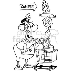 clown shopping at the store in black and white clipart. Royalty-free image # 389824