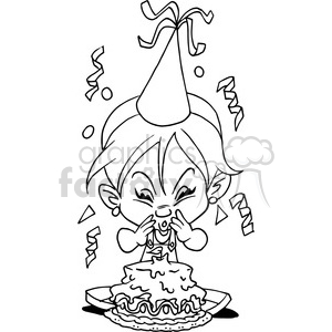 girl birthday party cartoon in black and white clipart. Commercial use image # 389834