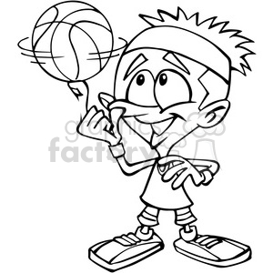 cartoon basketball player in black and white clipart. Royalty-free image # 389874