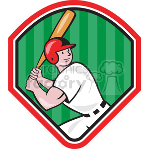 baseball player batting lookup SHIELD clipart. Royalty-free image # 389894