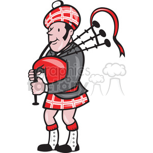 scottish bagpiper cartoon side clipart. Royalty-free image # 389929