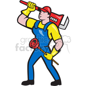 plumber wrench plunger looking up clipart. Royalty-free image # 389939
