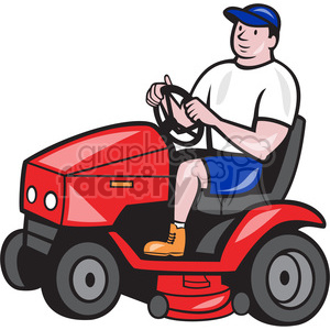 groundskeeper rideon lawn mower clipart. Commercial use image # 389949