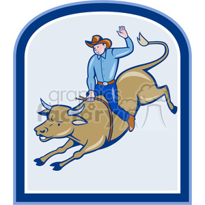 rodeo cowboy bull riding side clipart. Royalty-free image # 389959