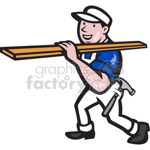 carpenter carry timber sideview clipart. Commercial use image # 389969