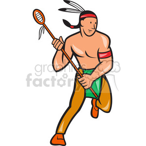 lacrosse indian player running clipart. Royalty-free image # 389979