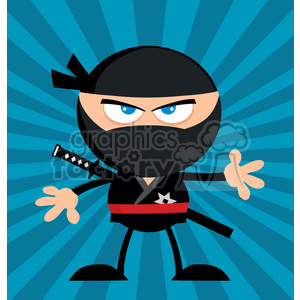 Royalty Free RF Clipart Illustration Angry Ninja Warrior Cartoon Character Flat Design Over Blue Background clipart. Royalty-free image # 390085