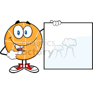 Royalty Free RF Clipart Illustration Happy Basketball Cartoon Character Showing A Blank Sign clipart. Royalty-free image # 390105