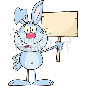 Royalty Free RF Clipart Illustration Funny Blue Rabbit Cartoon Character Holding A Wooden Board clipart. Royalty-free image # 390135