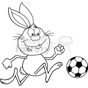 Royalty Free RF Clipart Illustration Black And White Cute Rabbit Cartoon Character Playing With Soccer Ball clipart. Commercial use image # 390145