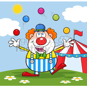 Funny Clown Cartoon Character Juggling With Balls clipart. Royalty-free image # 390155