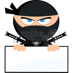 Royalty Free RF Clipart Illustration Angry Ninja Warrior Cartoon Character Over Blank Sign Flat Design