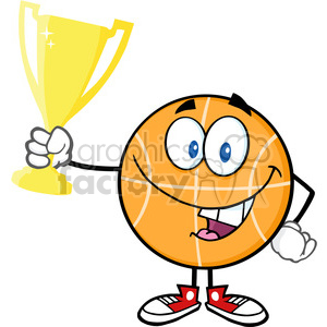 Royalty Free RF Clipart Illustration Happy Basketball Cartoon Character Holding Golden Trophy Cup clipart. Royalty-free image # 390225