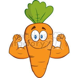 Royalty Free RF Clipart Illustration Cute Carrot Cartoon Character Showing Muscle Arms clipart. Commercial use image # 390235