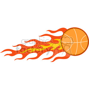 Royalty Free RF Clipart Illustration Flaming Basketball clipart. Royalty-free image # 390255