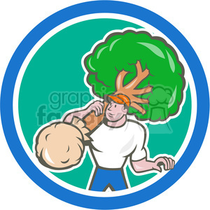 gardener carry tree shovel CIRC clipart. Royalty-free image # 390387