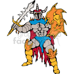 knight with big sword and shield clipart. Commercial use image # 390417