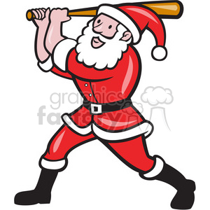 santa baseball batting side clipart. Royalty-free image # 390471