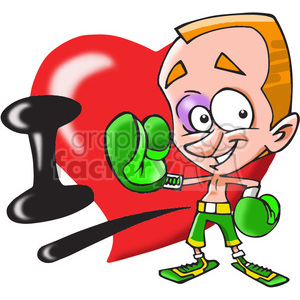 I Love boxing cartoon