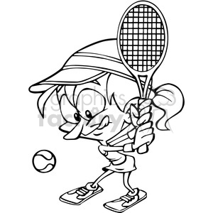 cartoon female tennis player outline clipart. Royalty-free image # 390693