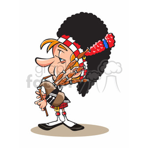 cartoon character funny british bagpipe soldier