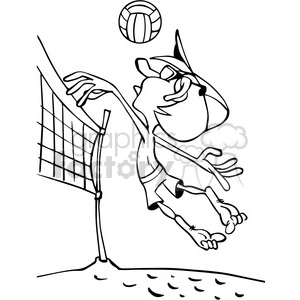 cartoon beach volleyball player outline clipart. Commercial use image # 390769