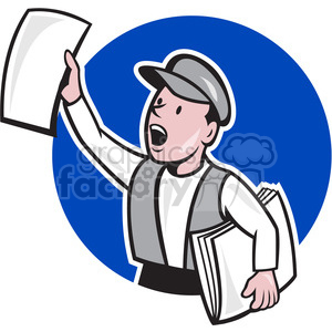 cartoon character mascot people funny news newspaper extra+extra reading hot delivery newsboy