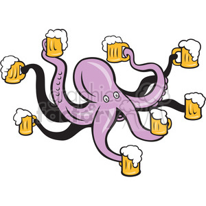 octopus holding mugs of beers clipart. Commercial use image # 391373