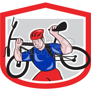 mountain biker carrying bike logo clipart. Royalty-free image # 391383