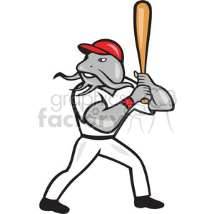 catfish baseball player batting mascot clipart. Royalty-free image # 391403