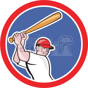 baseball batter batting up side in circle clipart. Royalty-free image # 391443