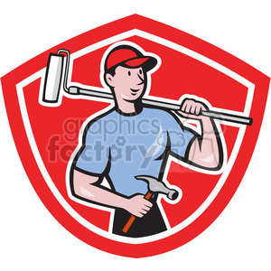 handyman holding hammer and paint roller logo clipart. Royalty-free image # 391453