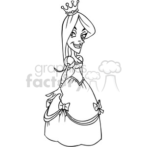cartoon princess in black and white clipart. Commercial use image # 391465