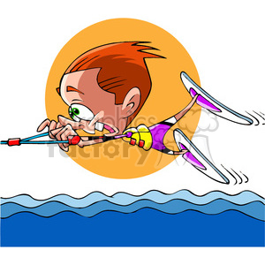 cartoon person wake boarding fun clipart. Royalty-free image # 391496
