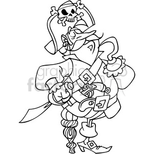 cartoon pirate in black and white clipart. Commercial use image # 391506