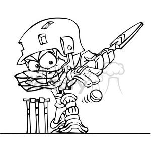cartoon cricket player in black and white clipart. Royalty-free image # 391515