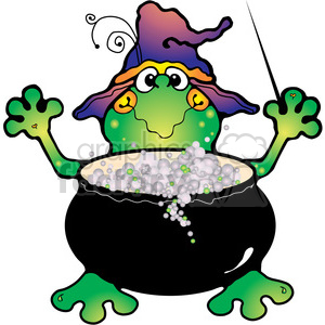 cartoon Halloween frog witch cute scary spooky