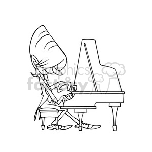 Pianista bw cartoon caricature clipart. Royalty-free image # 391689