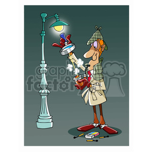 Sherlock Holmes cartoon caricature clipart. Royalty-free image # 391739