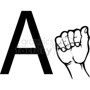 sign+language education hand black+white alphabet letter+a
