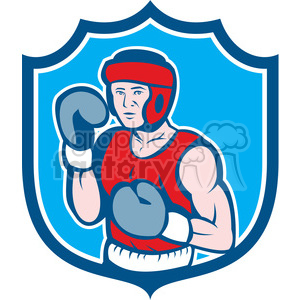 boxer stance front in shield shape clipart. Royalty-free image # 392331
