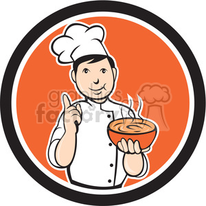 chef carrying hot bowl of soup in circle shape clipart. Commercial use image # 392381