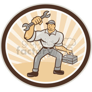 mechanic holding wrench carry toolbox shape clipart. Royalty-free image # 392421