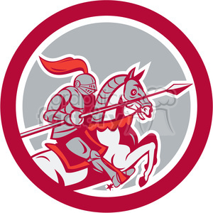 knight with lance riding horse prance in circle shape clipart. Commercial use image # 392441
