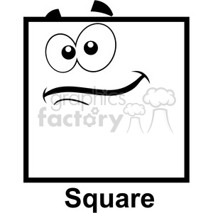 Royalty Free Geometry Square Cartoon Face Clip Art