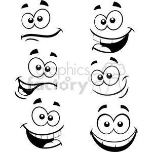 cartoon faces silly happy smile smiles funny group set
