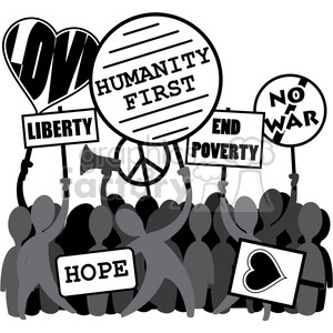 protesting humanity first liberty no war image clipart. Royalty-free image # 392556