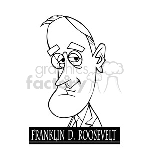 franklin d roosevelt black white clipart. Royalty-free image # 392909