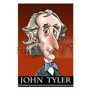 celebrity famous cartoon editorial-only people funny caricature john+tyler president 10th