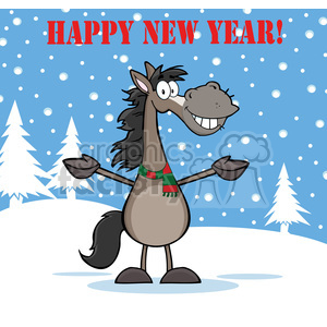 6876_Royalty_Free_Clip_Art_Happy_New_Year_Greeting_With_Smiling_Gray_Horse_Cartoon_Mascot_Character_Over_Winter_Landscape clipart. Royalty-free image # 393072